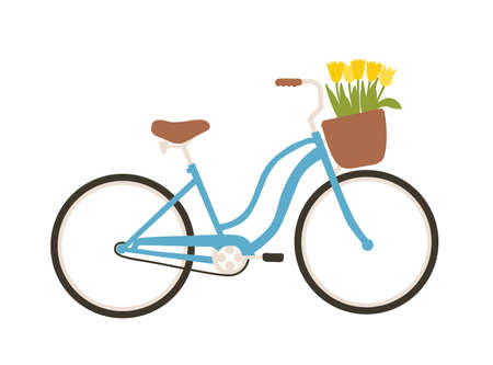 Urban bicycle or city bike with step-through frame and front basket full of spring flowers isolated on white background. Modern pedal-driven vehicle. Side view. Seasonal flat vector illustration
