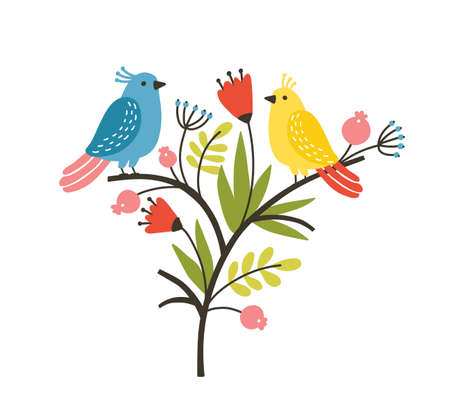 Seasonal composition with pair of lovely cute birds sitting on branch with blooming spring flowers and leaves. Springtime decoration. Colorful childish vector illustration in flat cartoon style 向量圖像