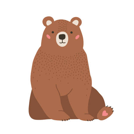 Cute adorable little brown bear. Funny lovely forest carnivorous animals isolated on white background. Amusing spring character. Bright colored childish vector illustration in flat cartoon style
