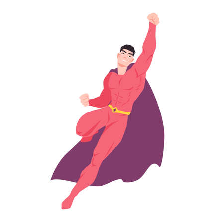 Superhero or superman. Flying man with muscular body wearing bodysuit and cape. Strong, confident and powerful fantastic warrior with super power. Colorful vector illustration in flat cartoon style.