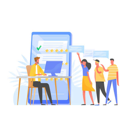 Customer support manager, online consultant, call center specialist wearing headphones sitting at computer, five star rating and group of clients standing in queue. Flat colorful vector illustration