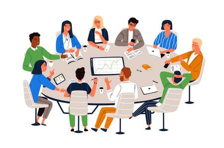 Kantoormedewerkers zitten aan ronde tafel en bespreken ideeën, wisselen informatie uit. Werkvergadering, zakelijke onderhandelingen, conferentie, groepsdiscussie. Cartoon vectorillustratie in vlakke stijl.