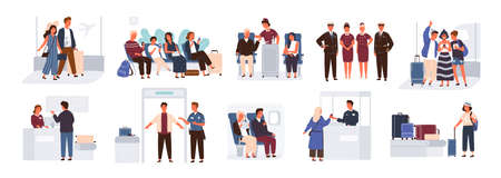 Bundle of scenes with tourists or aircraft passengers. Friends, families with children, couples at check-in, airport baggage reclaim area, waiting hall or in plane. Flat cartoon vector illustration
