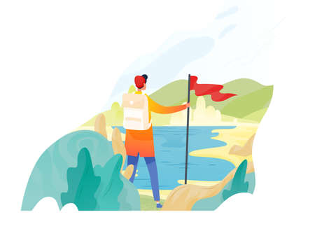 Backpacker, hiker, traveller or explorer standing, holding red flag and looking at nature. Hiking, backpacking, adventure tourism and travel, discovery of new horizons. Flat vector illustration Illustration