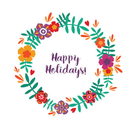 Round frame, garland, wreath or border made of colorful blooming flowers and leaves and Happy Holidays lettering handwritten with cursive font inside. Natural vector illustration in flat style Illustration