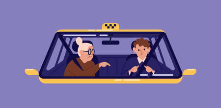 Taxi driver and elderly woman sitting in front seat of cab and talking to him seen through windscreen. Old lady or granny using automobile service. Flat cartoon colorful vector illustration
