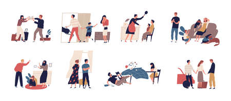 Collection of scenes of family conflict or relationship problem with unhappy married couples and children. Bundle of people breaking up, quarreling and fighting. Flat cartoon vector illustration Vettoriali