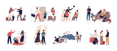 Raccolta di scene di conflitti familiari o problemi di relazione con coppie sposate e figli infelici. Fascio di persone che si separano, litigano e litigano. Illustrazione vettoriale di cartone animato piatto Vettoriali