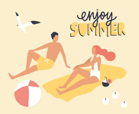 Postcard template with couple dressed in swimwear sitting on beach and sunbathing and Enjoy Summer slogan handwritten with cursive calligraphic font. Relax at seaside resort. Flat vector illustration Illustration