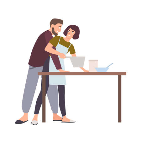 Husband groping wife while she is cooking. Abusive behavior of spouse or partner, domestic violence, abuse or assault at home. Family problem. Vector illustration in flat cartoon style.