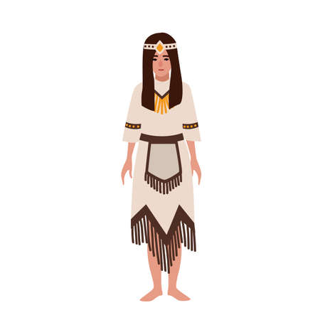 American Indian woman in national ethnic clothes or traditional tribal costume decorated by fringe. Aborigines or indigenous peoples of America. Female cartoon character. Flat vector illustration
