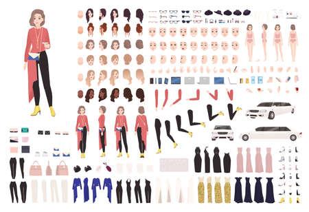 Zestaw animacyjny eleganckiej kobiety lub zestaw DIY. Kolekcja części ciała, gestów, stylowych ubrań i akcesoriów. Kobiece gwiazdy w stroju wieczorowym. Widoki z przodu, z boku, z tyłu. Płaska ilustracja wektorowa