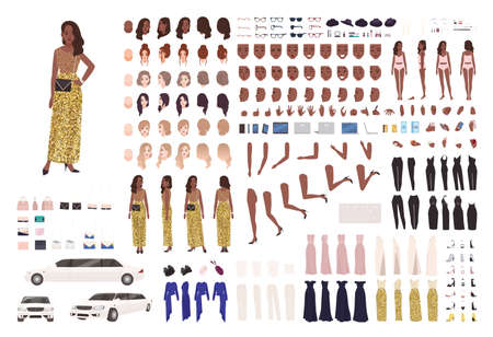 African American woman in evening dress constructor kit or character generator. Set of body parts, elegant clothes and accessories. Female celebrity. Front, side, back views. Flat vector illustration Vektorové ilustrace
