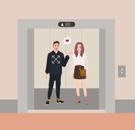 Happy boy and girl or romantic partners standing in elevator with open doors and talking to each other. Love confession inside lift stopped on floor of building. Flat cartoon vector illustration