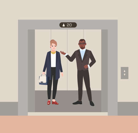 Smiling male and female office workers or clerks standing in elevator with open doors. Colleagues having conversation inside lift stopped on floor of building. Flat cartoon vector illustration