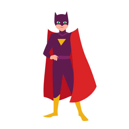 Batboy. Teenage kid in bat costume standing in heroic pose. Fantastic child hero with super power. Teen superhero wearing mask and cape. Superkid, superchild. Flat cartoon vector illustration.