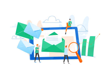 Composition with giant tablet PC, letter in envelope on screen, group of working people or team of marketers. Email marketing, internet advertisement, online promotion. Flat vector illustration. Illustration