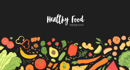 Horizontal banner template with scattered fresh wholesome food on black background. Backdrop with tasty eco healthy products, delicious dietary nutrition. Hand drawn realistic vector illustration
