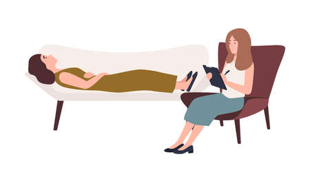 Woman lying on sofa and female psychologist, psychoanalyst or psychotherapist sitting in chair with notebook in hand and talking. Mental problems and psychotherapy. Flat cartoon vector illustration