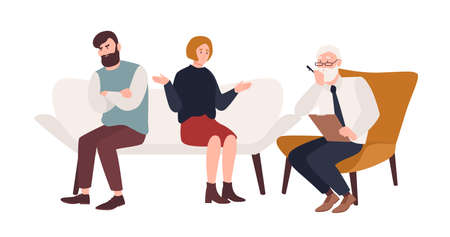 Married couple on sofa and elderly psychologist, psychoanalyst or psychotherapist sitting in front of them. Marriage crisis, family conflict, relationship problem. Flat cartoon vector illustration