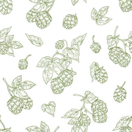 Monochrome seamless pattern with hop flower buds hand drawn with contour lines on white background. Natural backdrop with perennial plant. Elegant realistic vector illustration for textile print