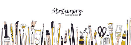 Horizontal banner template decorated by hand drawn stationery, writing utensils. Backdrop with office tools, art supplies and place for text on white background. Realistic vector illustration