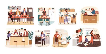 Raccolta di persone che cucinano in cucina, servono il tavolo, cenano insieme, mangiano cibo. Insieme di uomini, donne e bambini sorridenti che preparano pasti fatti in casa per la cena. Illustrazione vettoriale di cartone animato piatto Vettoriali