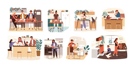 Collection of people cooking in kitchen, serving table, dining together, eating food. Set of smiling men, women and children preparing homemade meals for dinner. Flat cartoon vector illustration Illustration