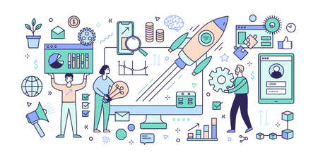 Creative banner template with computer, diagrams, charts, flying rocket or spacecraft, men and women working together under startup project release. Colored vector illustration in line art style