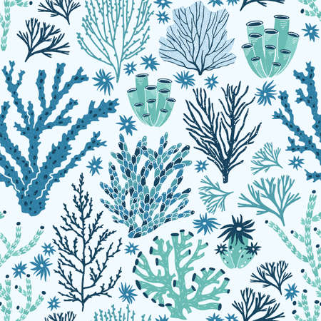 Seamless pattern with blue and green corals and seaweed. Backdrop with seabed species, underwater flora and fauna, aquatic life. Flat decorative vector illustration for fabric print, wallpaper