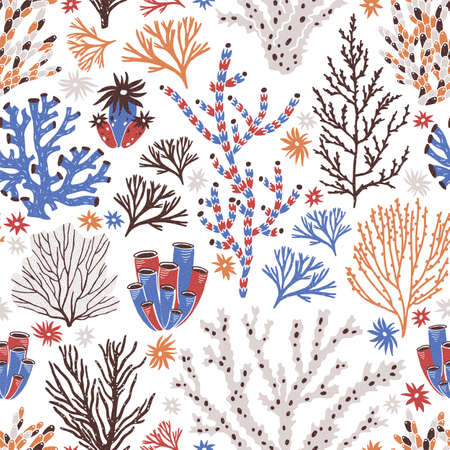 Seamless pattern with coral and seaweed on white background. Backdrop with tropical reef or seabed flora and fauna, underwater life. Flat colorful vector illustration for fabric print, wallpaper