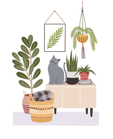 Cozy room interior with cat sitting on cupboard or sideboard, houseplants in pots, wall picture, basket. Composition with furniture and home decorations in hygge style. Flat vector illustration