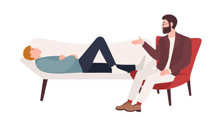 Man lying on coach and male psychologist, psychoanalyst or psychotherapist sitting beside and providing psychological aid. Professional psychotherapeutic session. Flat cartoon vector illustration. Illustration
