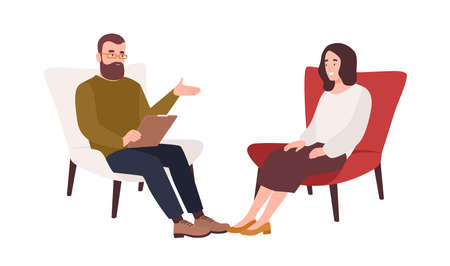 Female patient in armchair and male psychologist, psychoanalyst or psychotherapist sitting in front of her and talking. Psychology, psychotherapy, psychological aid. Flat cartoon vector illustration. Ilustracja