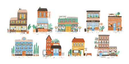 Collectie van winkels, winkels, café, restaurant, bakkerij, koffiehuis geïsoleerd op een witte achtergrond. Bundel van gebouwen op straat van Europese stad. Platte vectorillustratie in schattige naïeve stijl. Vector Illustratie