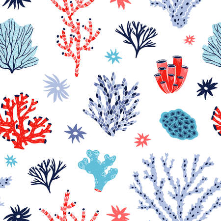Seamless pattern with red and blue corals and seaweed or algae on white background. Backdrop with tropical aquatic creatures, undersea flora and fauna, sea or ocean life. Flat vector illustration. 免版税图像 - 119418547