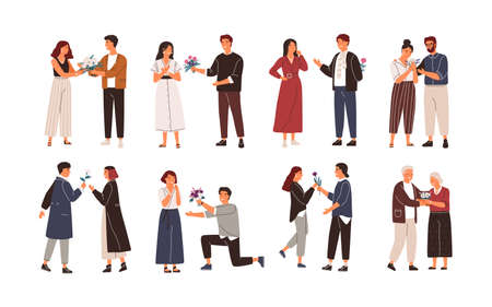Collection of cute men giving flowers to women. Bundle of young and elderly admirers or adorers giving beautiful bouquets. Set of people with romantic gifts. Flat cartoon colorful vector illustration.