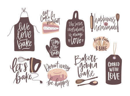 Set of motivational slogans handwritten with cursive font decorated by cooking or baking design elements. Bundle of bakery compositions with inspirational phrases. Decorative vector illustration.