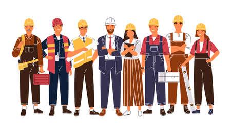 Ritratto di gruppo di carino felice industria o lavoratori edili, ingegneri in piedi insieme. Team di dipendenti maschi e femmine sorridenti che indossano elmetti e uniformi. Illustrazione di vettore del fumetto piatto.