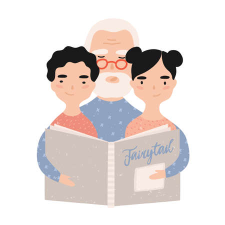 Granddad reading book with grandchildren. Grandfather telling fairytales to his grandson and granddaughter. Portrait of elderly grandparent and grandkids. Vector illustration in flat cartoon style.