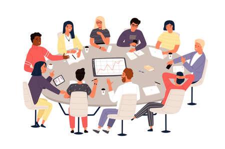 Empleados o colegas sentados en una mesa redonda y discutiendo ideas o haciendo una lluvia de ideas. Reunión de negocios, negociación formal, conferencia, discusión grupal. Ilustración de vector de estilo de dibujos animados plana.