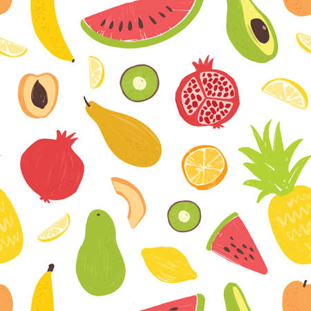 Seamless pattern with exotic tropical fruits on white background. Decorative summer backdrop with fresh dietary veggie food. Flat vector illustration for wrapping paper, textile print, wallpaper.