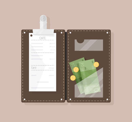Open bill holder or check presenter with restaurant receipt, money banknotes and coins, top view. Customers payment for cafe service, tips or gratuity. Colorful vector illustration in flat style.