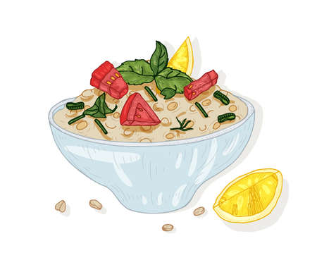 Tabbouleh salad in bowl isolated on white background. Tasty restaurant vegan meal made of tomatoes and bulgur. Appetizing vegetarian dish for lunch or dinner. Hand drawn realistic vector illustration