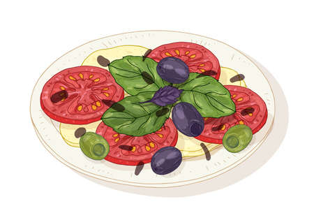 Caprese salad on plate isolated on white background. Healthy delicious Italian restaurant meal made of fresh organic tomatoes, mozzarella, basil, olives. Hand drawn realistic vector illustration