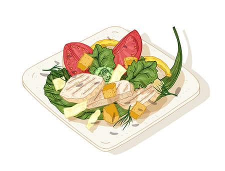 Ensalada César en plato aislado sobre fondo blanco. Deliciosa comida de restaurante hecha de pollo, hojas de lechuga, verduras frescas y picatostes. Plato de aperitivo sabroso. Ilustración de vector dibujado a mano