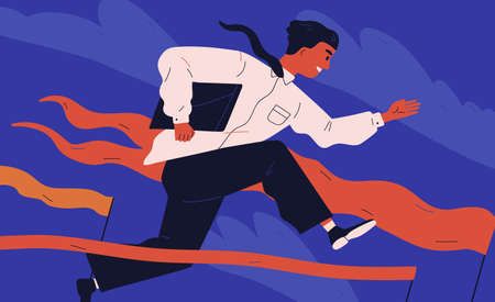 Smiling office worker or clerk jumping over barrier. Concept of person overcoming obstacles, withstanding adverse conditions and winning professional competition. Modern flat vector illustration