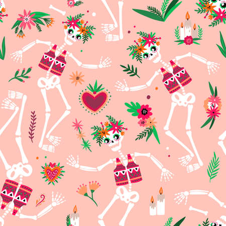 Day Of The Dead seamless pattern with funny skeletons dancing and celebrating traditional Mexican holiday. Festive vector illustration in flat cartoon style for fabric print, wallpaper, backdrop Illustration