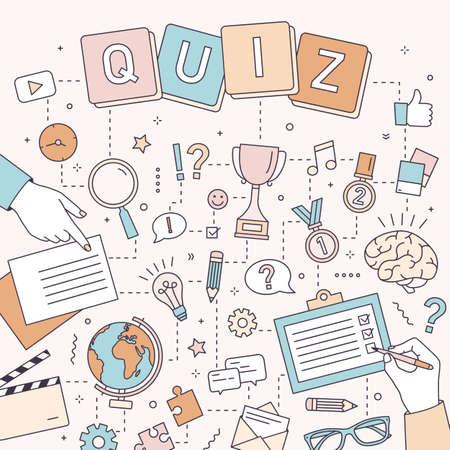 Quadratische Banner-Vorlage mit Händen von Menschen, die Rätsel und Denksportaufgaben lösen, Quizfragen beantworten, an Logikwettbewerben teilnehmen. Moderne bunte Vektorillustration im Linienkunststil