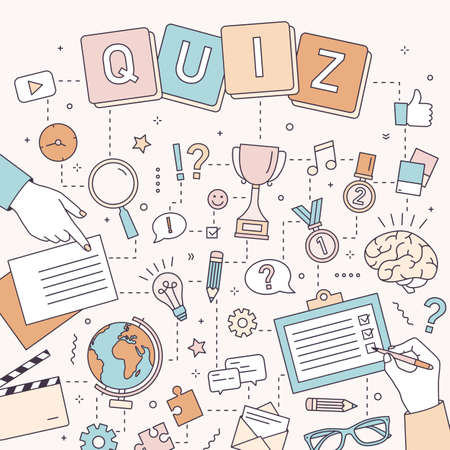 Square banner template with hands of people solving puzzles and brain teasers, answering quiz questions, taking part in logic competition. Modern colorful vector illustration in line art style Illustration